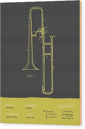 Trombone Patent From 1902 - Modern Gray Yellow Wood Print by Aged Pixel