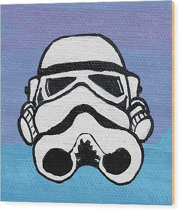 Trooper On Purple Wood Print by Jera Sky