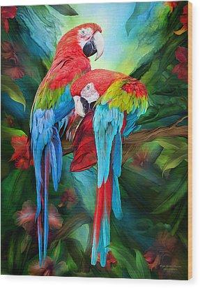 Tropic Spirits - Macaws Wood Print by Carol Cavalaris