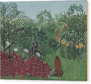 Tropical Forest With Monkeys Wood Print by Henri J F Rousseau