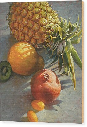Tropical Fruit Wood Print by Mia Tavonatti