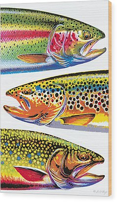 Trout Abstraction Wood Print by JQ Licensing