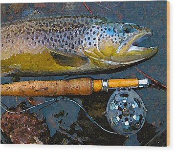 Trout On Fly Wood Print by Lina Tricocci