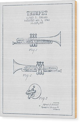 Trumpet Patent From 1940 - Blue Ink Wood Print by Aged Pixel
