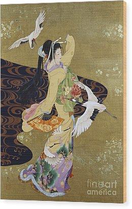Tsuru No Mai Wood Print by Haruyo Morita