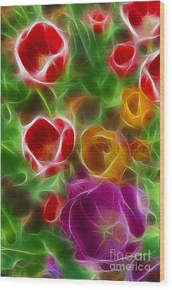 Tulips-6944-fractal Wood Print by Gary Gingrich Galleries