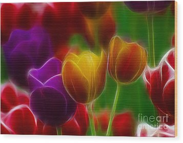 Tulips-7060-fractal Wood Print by Gary Gingrich Galleries