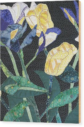 Tulips And Irises Detail Wood Print by Lynda K Boardman