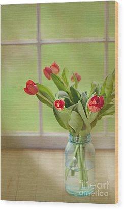 Tulips In Mason Jar Wood Print by Kay Pickens