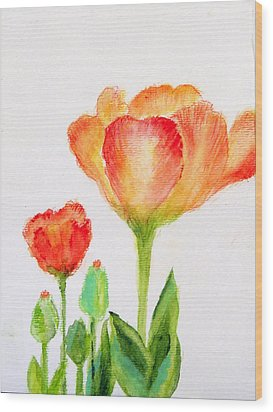 Tulips Orange And Red Wood Print by Ashleigh Dyan Bayer