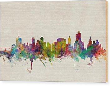 Tulsa Oklahoma Skyline Wood Print by Michael Tompsett