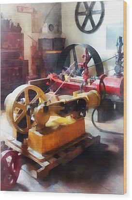 Turn Of The Century Machine Shop Wood Print by Susan Savad