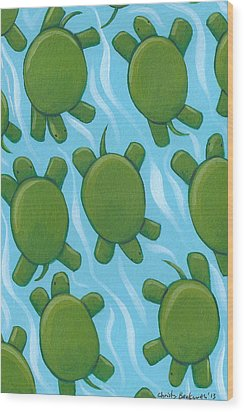Turtle Nursery Art Wood Print by Christy Beckwith