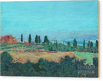 Tuscan Farm Wood Print by Allan P Friedlander