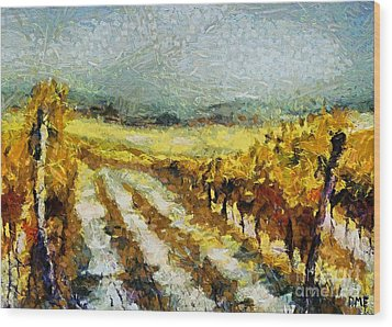 Tuscan Vineyard Wood Print by Dragica  Micki Fortuna