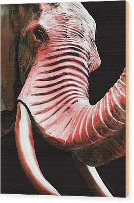 Tusk 4 - Red Elephant Art Wood Print by Sharon Cummings