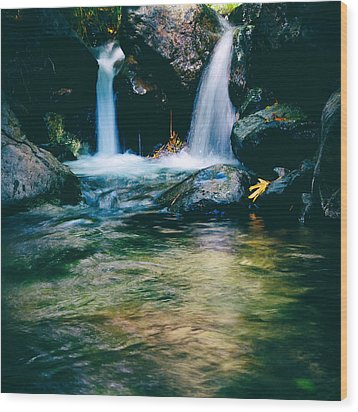 Twin Waterfall Wood Print by Stelios Kleanthous