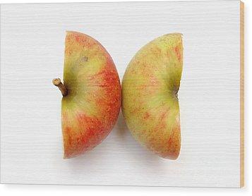 Two Apple Halves Wood Print by Michal Bednarek