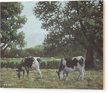Two Cows In Field At Throop Dorset Uk Wood Print by Martin Davey