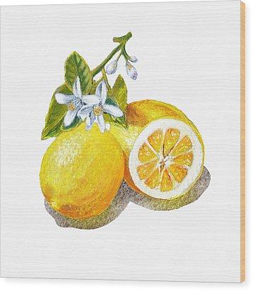 Two Happy Lemons Wood Print by Irina Sztukowski