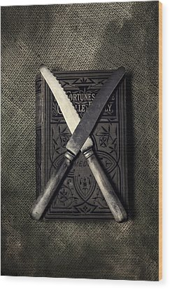 Two Knives And A Book Wood Print by Joana Kruse