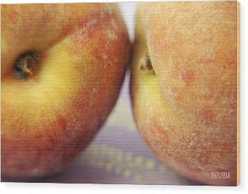 Two Peaches On A Purple Background Wood Print by Beverly Brown