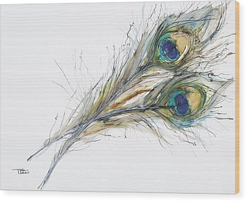 Two Peacock Feathers Wood Print by Tara Thelen