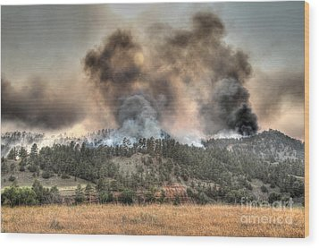 Wood Print featuring the photograph Two Smoke Columns White Draw Fire by Bill Gabbert