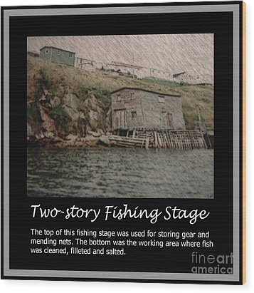 Two-story Fishing Stage Wood Print by Barbara Griffin