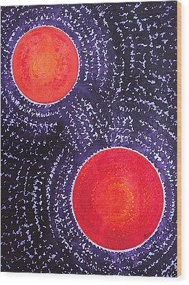 Two Suns Original Painting Wood Print by Sol Luckman