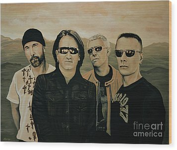 U2 Silver And Gold Wood Print by Paul Meijering