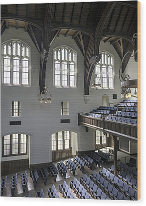 Uf University Auditorium Window And Balcony Detail Wood Print by Lynn Palmer