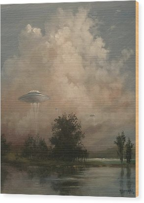 Ufo's - A Scouting Party Wood Print by Tom Shropshire