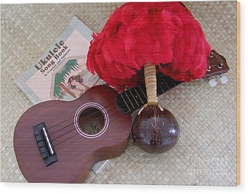 Ukulele Ipu And Songbook Wood Print by Mary Deal