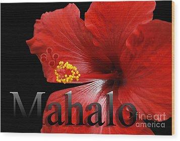 Ula Anoano Hanohano Red Tropical Hibiscus Mahalo Wood Print by Sharon Mau
