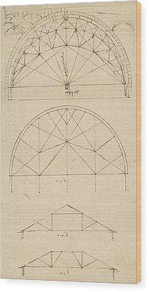 Underdrawing For Building Temporary Arch Wood Print by Leonardo Da Vinci