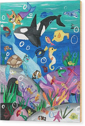 Underwater With Kitty And Friends Wood Print by Artists With Autism Inc