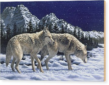 Wolves - Unfamiliar Territory Wood Print by Crista Forest
