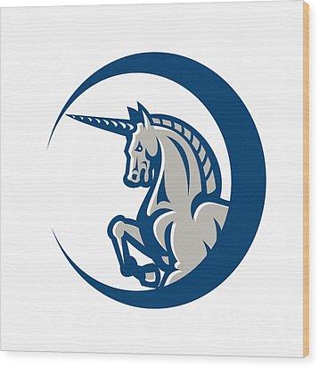 Unicorn Horse Prancing Side Wood Print by Aloysius Patrimonio