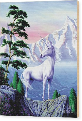 Unicorn The Land That Time Forgot Wood Print by Garry Walton