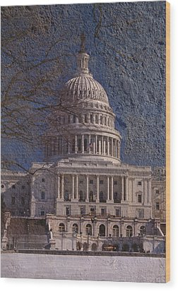 United States Capitol Wood Print by Skip Willits
