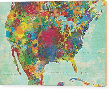 United States Map Wood Print by Gary Grayson