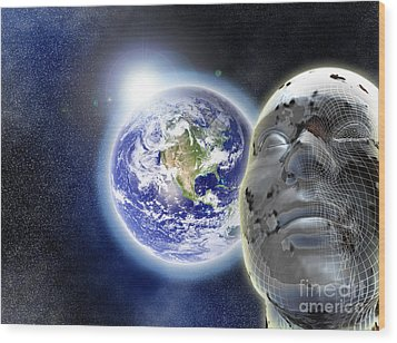 Alone In The Universe Wood Print by Stefano Senise