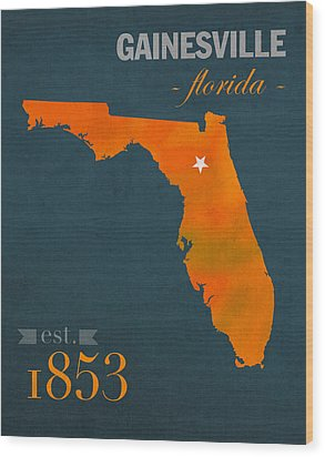 University Of Florida Gators Gainesville College Town Florida State Map Poster Series No 003 Wood Print by Design Turnpike