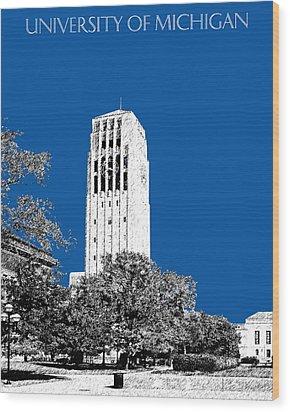 University Of Michigan - Royal Blue Wood Print by DB Artist