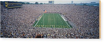 University Of Michigan Football Game Wood Print by Panoramic Images