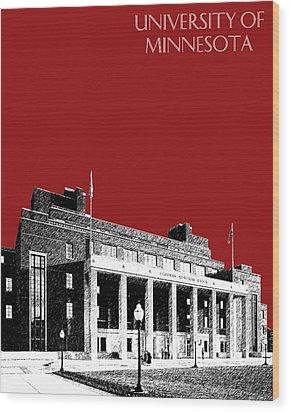 University Of Minnesota - Coffman Union - Dark Red Wood Print by DB Artist