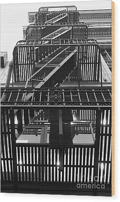 Urban Fabric - Fire Escape Stairs - 5d20592 - Black And White Wood Print by Wingsdomain Art and Photography