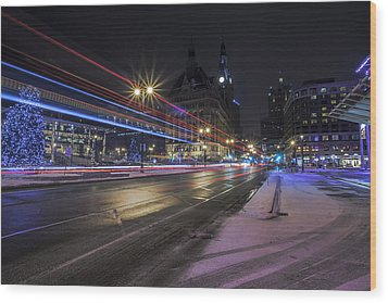 Urban Holiday  Wood Print by CJ Schmit