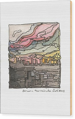 Urban Sunset Wood Print by Aruna Samivelu